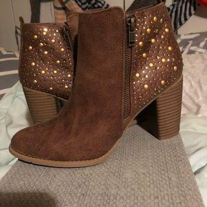 Brown studded booties sz 9 never worn